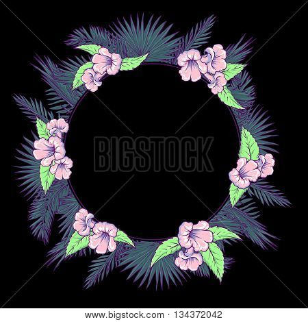 Tropical thicket. Palm tree leaves and  trumpetbush flowers wreath. Trendy  black background summer design template. Decorative symmetrical circular frame. EPS10 vector illustration.