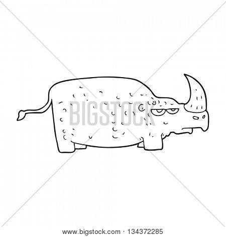 freehand drawn black and white cartoon rhino