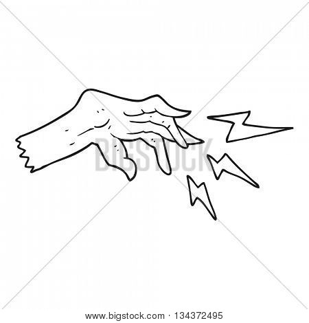 freehand drawn black and white cartoon hand casting spell