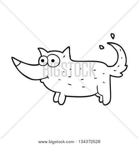 freehand drawn black and white cartoon dog wagging tail