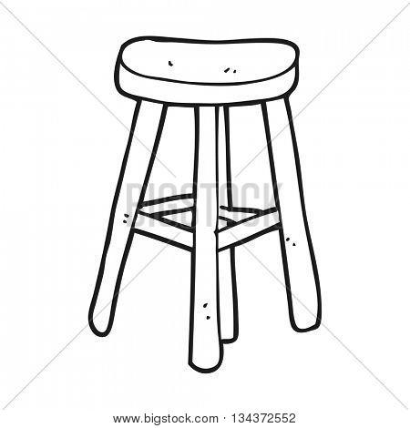 freehand drawn black and white cartoon stool