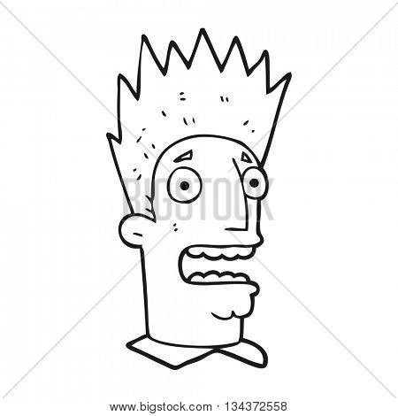 freehand drawn black and white cartoon shocked man
