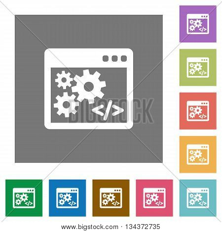 Application programming interface flat icon set on color square background.