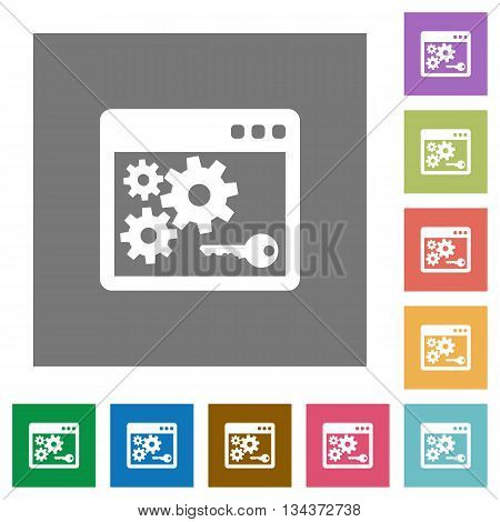 Application programming interface key flat icon set on color square background.