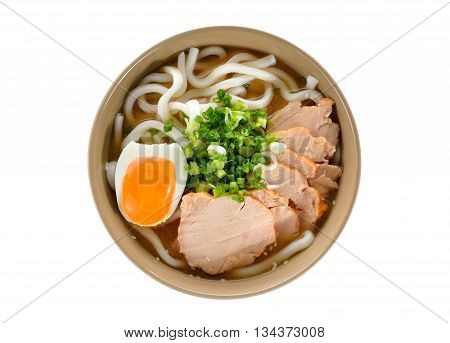 bird eyes view Japanese noodles Udon with chicken and boiled egg in soybean paste (Miso) soup on white background