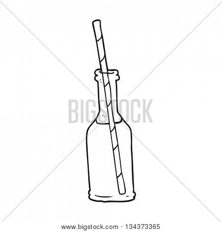 freehand drawn black and white cartoon soda bottle and straw
