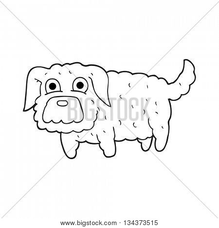 freehand drawn black and white cartoon small dog
