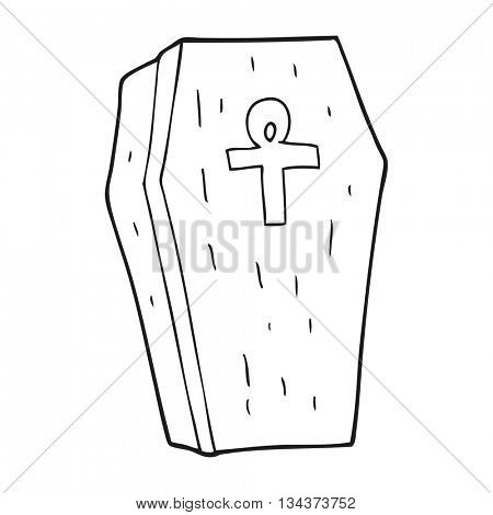 freehand drawn black and white cartoon spooky coffin