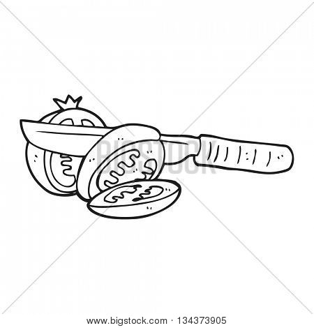 freehand drawn black and white cartoon knife slicing a tomato