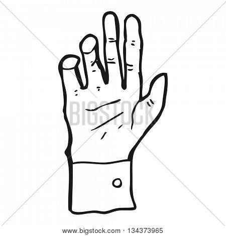 freehand drawn black and white cartoon hand reaching