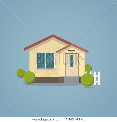 Flat classical house with white fence and bushes. Modern house concept.