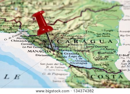 Map with pin point of Managua in Nicaragua