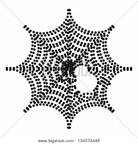 Spider on web illustration Dot style or bullet style icon on white.