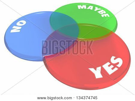 Yes No Maybe Answers Venn Diagram 3d Illustration