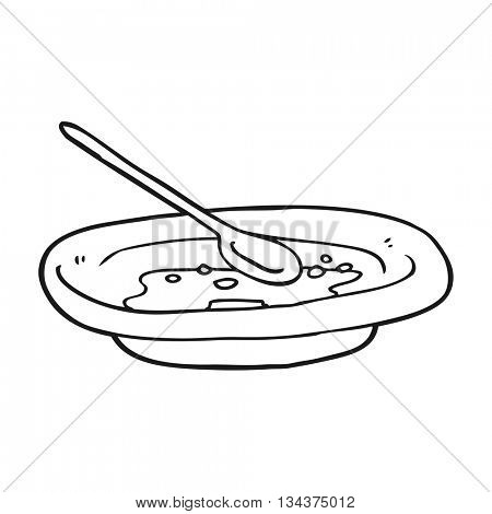 freehand drawn black and white cartoon empty cereal bowl