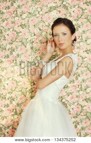 Beautiful bride on summer background fashion portrait