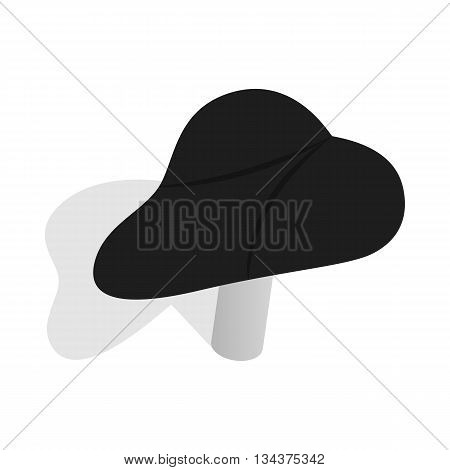 Black bicycle seat icon in isometric 3d style on a white background