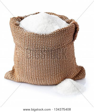 Sugar. Sugar in burlap sack isolated on white background. Full bag of sugar crystals closeup