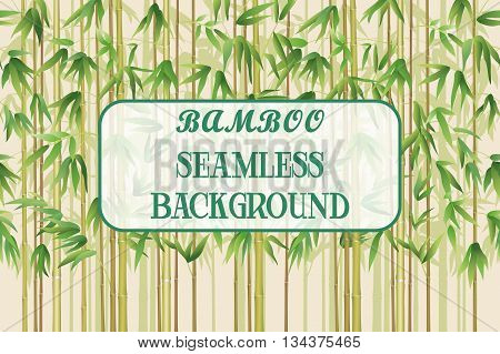 Exotic Horizontal Seamless Pattern, Tropical Bamboo Plants Trunks, Stems, Branches and Green Leaves. Vector