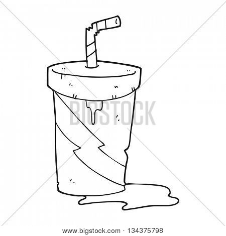 freehand drawn black and white cartoon junk food cola drink