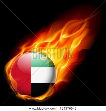 Flag of United Arab Emirates as round glossy icon burning in flame