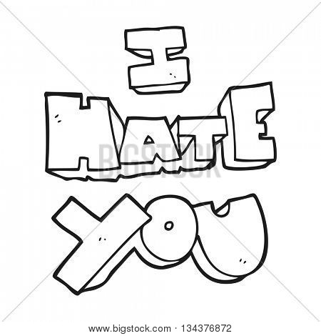 I hate you freehand drawn black and white cartoon symbol