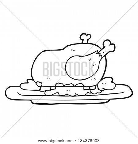 freehand drawn black and white cartoon cooked turkey