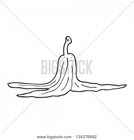 freehand drawn black and white cartoon banana peel