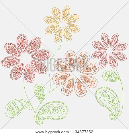 Fantasy flowers seamless paisley pattern. Floral ornament  on dark background for fabric, textile, cards, wrapping paper, wallpaper template. Ornament bright motif