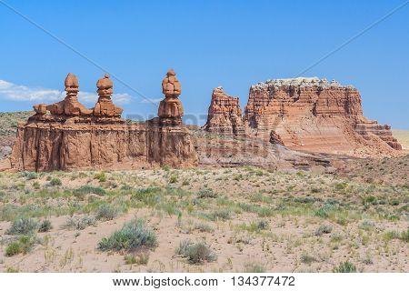 Hoodoo Rock Pinnacles In Goblin Valley State Park, Utah,  Usa