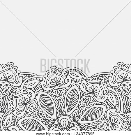 Henna Mehndi Card Template. Mehndi invitation design,  Element for decoration invitations and cards, floral Paisley ornament