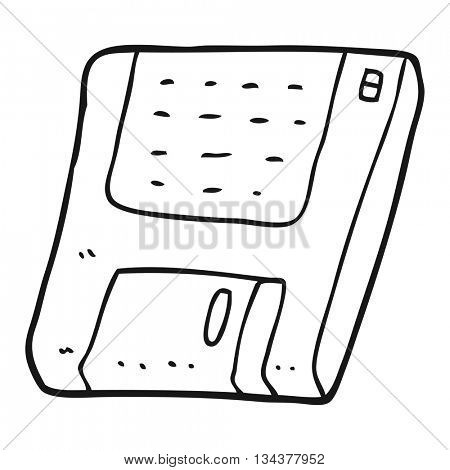 freehand drawn black and white cartoon old computer disk