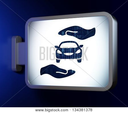 Insurance concept: Car And Palm on advertising billboard background, 3D rendering