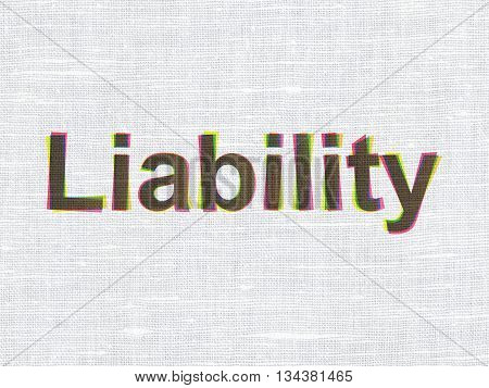 Insurance concept: CMYK Liability on linen fabric texture background