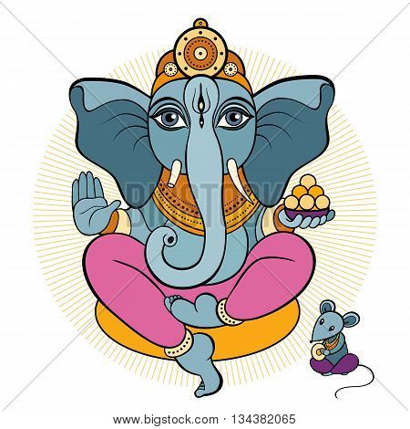 Ganesha and mouse. Vector hand drawn illustration