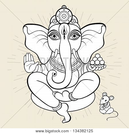 Hindu God Ganesha. Ganapati. Vector hand drawn illustration. Meditation in lotus pose