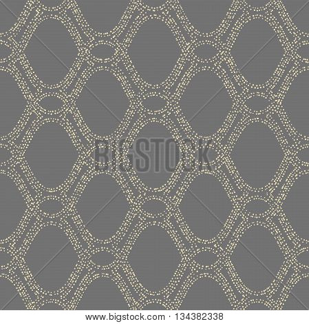 Seamless vector ornament. Modern geometric pattern with repeating doted elements. Gray and golden pattern