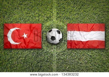Turkey Vs. Austria Flags On Soccer Field