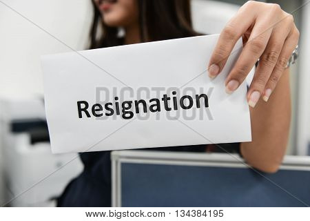 Business Woman Submitted The Letter Of Resignation