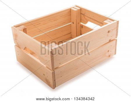 Empty wooden box isolated on white background