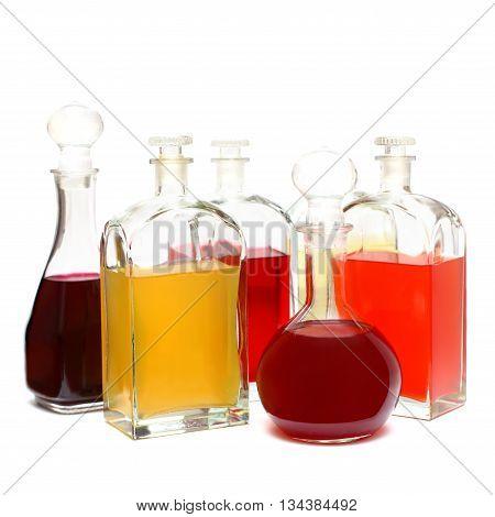 Alcohol bottle - glasses with color liqueur