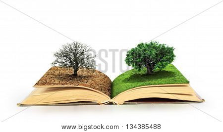 Concept of changes. Open book. One side full of grass with a life tree different side is desert with a dead tree. Concept of doubleness. Isolated on white background.