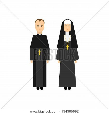Catholic men and women monks in traditional religious clothes. Flat characters design. Vector illustration.
