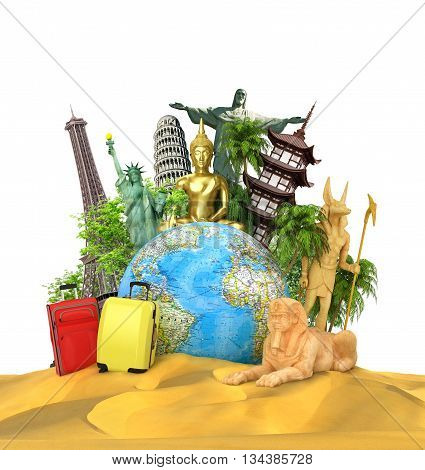 Travel concept. The most popular attractions of the world with bags and suitcases near globe located on the sand. 3d illustration