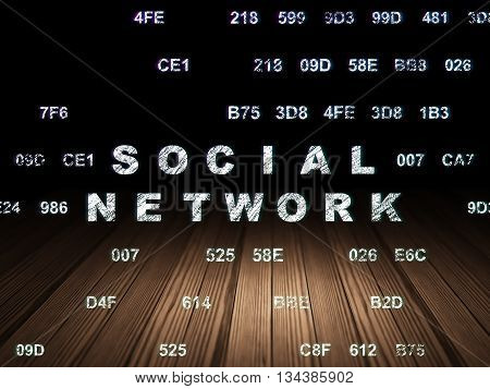 Social network concept: Glowing text Social Network in grunge dark room with Wooden Floor, black background with Hexadecimal Code