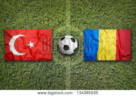 Turkey Vs. Romania Flags On Soccer Field