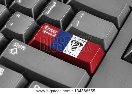 Enter Button With Flag Of Kansas City, Missouri