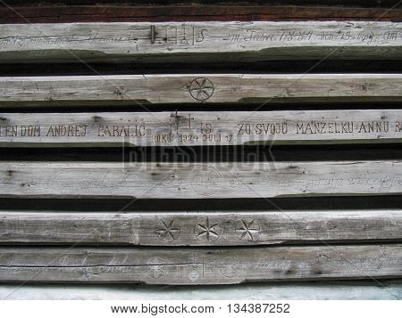 Stara Lubovna, Slovakia - July 4, 2011: Detail of the Wooden Log House Wall
