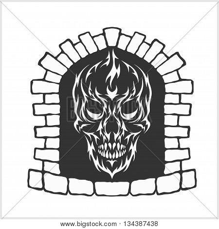 Skull with flames style in the fireplace