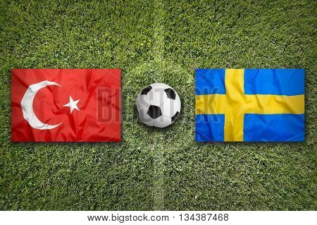 Turkey Vs. Sweden Flags On Soccer Field